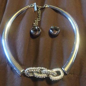 INC Silver choker, rhinestone pendant, clip on ER